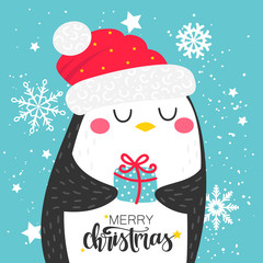 Greeting card with cute Christmas penguin