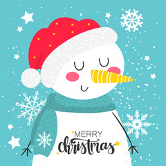 Merry Christmas background with snowman