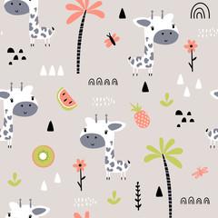 Seamless background with cartoon giraffes