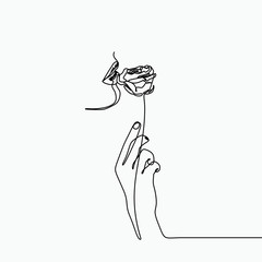 One line art drawing with a hand, rose flower, and girl mouth. Surrealism style combined with minimalist concept.