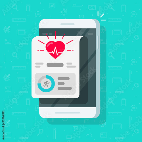 Health or fitness tracker app on mobile phone vector, flat cartoon