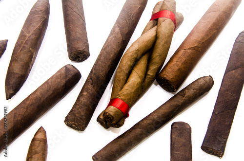 Traditional handmade cigars of tobacco leafs