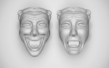 vector set of two facial masks, joy and sadness.