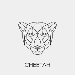 Geometric cheetah. Polygonal linear animal head. Vector illustration.