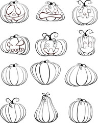 Set of six black outline pumpkins isolated on white background. A symbol of the holiday of Halloween.