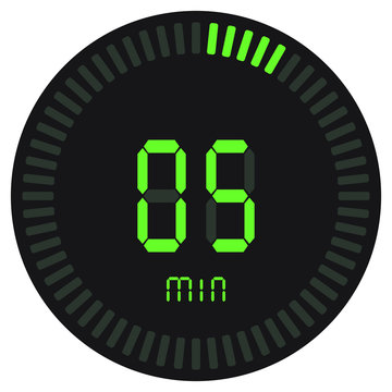 The green digital timer 5 minutes. electronic stopwatch with a gradient dial starting vector icon, clock and watch, timer, countdown symbol.