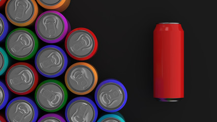 Big colorful soda cans on black background