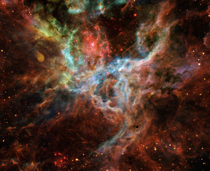 Space nebula. Cosmic cluster of stars. Outer space landscape. Celestial map. Galaxy stars background