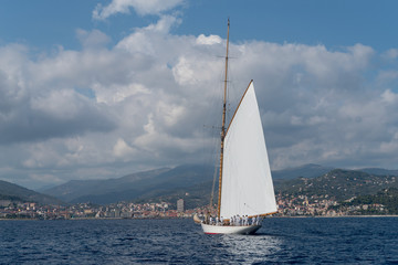 Sailboat the old style on Mediterranean sea