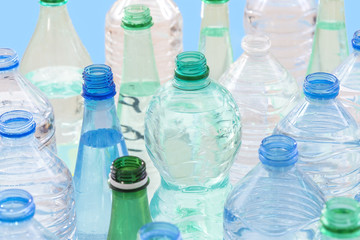 plastic bottle recycling concept. collection of various plastic bottles on white background.