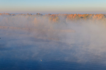 View on the Dnieper river in fog in the morning at autumn