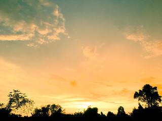 sunset, sky, sun, landscape, clouds, nature, cloud, evening, sunrise, orange, red, dusk, beautiful, trees, tree, blue, light, summer, horizon, silhouette, yellow, morning, dawn, night, sundown