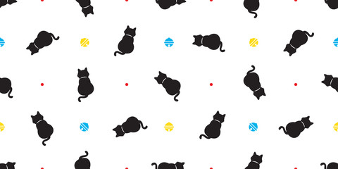 cat Seamless Pattern vector kitten calico polka dot bell scarf isolated tile background halloween repeat wallpaper