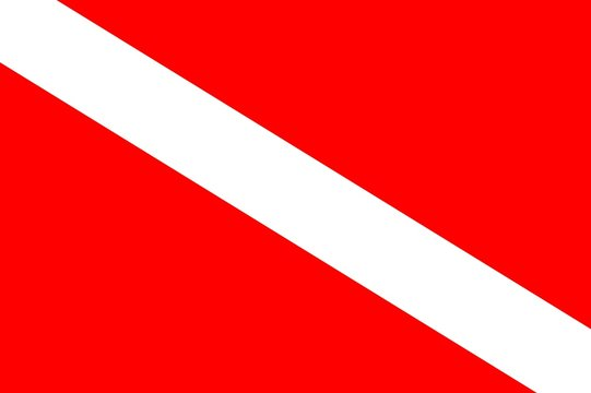 International Scuba Diving flag signaling diver is underwater