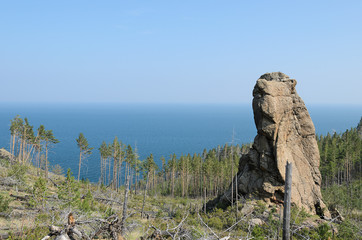 View from high rocky coast blue water of Baikal Lake