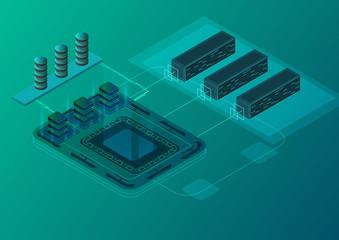 Isometric illustration about modern technology.