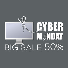 White monitor. Cyber monday. Big sale. Big discounts on computer equipment. Deal offer. Concept of sales notice, e-commerce, delivery service. Modern design icons