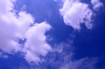 White clouds on blue sky background,use for backdrop or web design,soft focus.