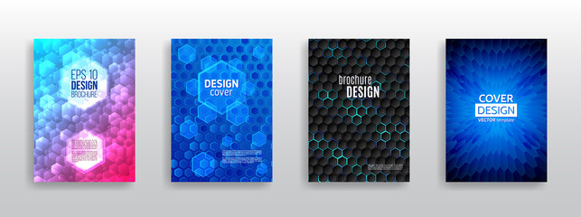 Abstract hexagon flyer design. Vector annual report brochure. Hi-tech cover background. Book cover layout. Modern simple geometric template for business