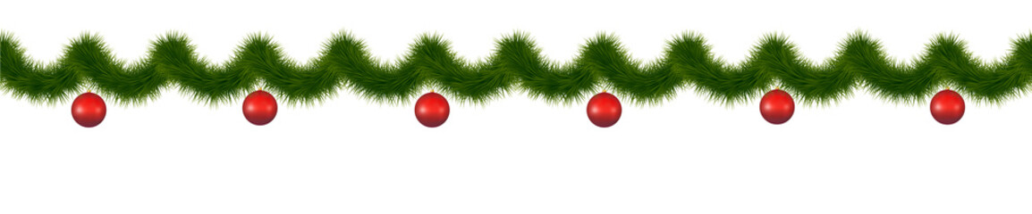 Festive green fin garland for web and sites design.