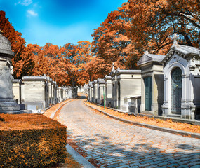 Pere Lachaise Cemetery at autumn.