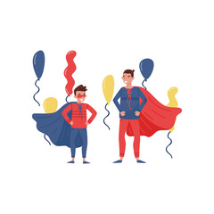 Father and son having fun at party. Cheerful man and boy dressed as superheros. Fatherhood theme. Flat vector design
