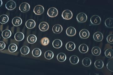 Close up of retro typewriter keyboard keys