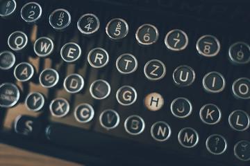 Close up of retro typewriter keys
