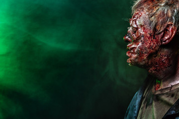 Close-up portrait of a horrible scary zombie man. Horror. Halloween 2018 Fototapete