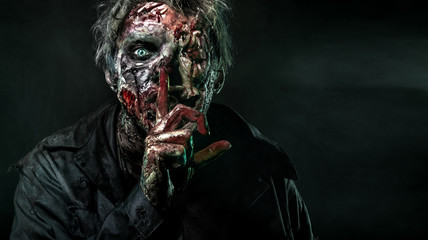 Close-up portrait of a horrible scary zombie man. Horror. Halloween 2018 Wall mural