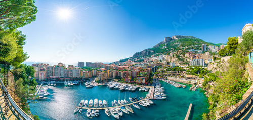 Wall mural View of Fontvieille, district of Monaco, French Riviera coast, Cote d'Azur, France .