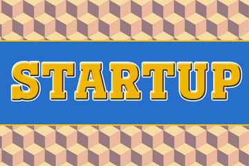 Startup Logo banner on geometric pattern texture