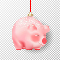 Chinese 2019 Happy New Year symbol. Realistic Christmas decor Bauble pink pig with white snow and golden cap on its back on red ribbon isolated on transparent background with shadow. Object