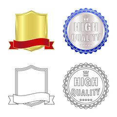 Isolated object of emblem and badge logo. Set of emblem and sticker vector icon for stock.