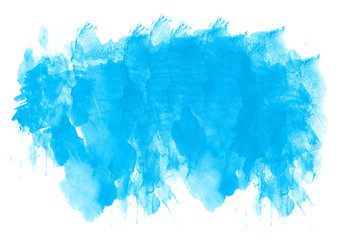Bright blue abstract blot texture on white background