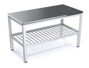 Table for food packaging in the supermarket. With metal top and grill. 3d illustration
