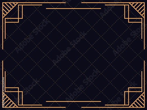 Art Deco Frame Vintage Linear Border Design A Template For