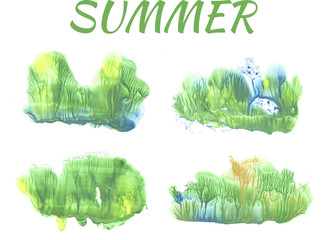 summer forest, abstract drawing on white background
