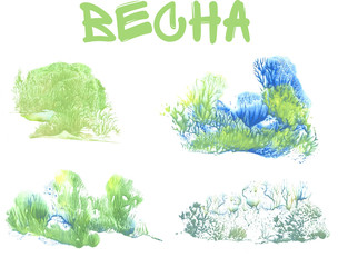 spring forest, abstract drawing on white background, russian language