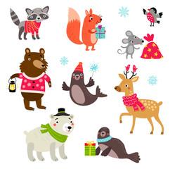 Christmas animals set characters