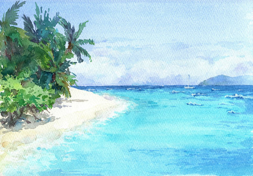 Blue lagoon beach with palms and white sand. Watercolor hand drawn illustration.