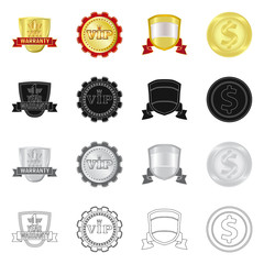 Isolated object of emblem and badge icon. Set of emblem and sticker stock symbol for web.