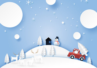 Winter season landscape with santa claus,deers and snowman for merry christmas and happy new year.Paper art style vector illustration.