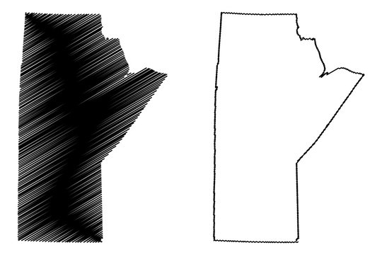 Manitoba (provinces and territories of Canada) map vector illustration, scribble sketch Manitoba map