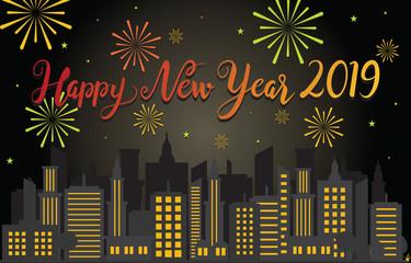 Happy New Year 2019 Greeting Card Fireworks City Skyline