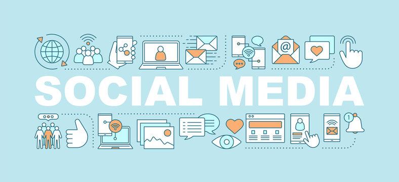 Social media word concepts banner