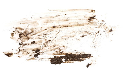 Wet mud, stains texture isolated on white background, top view Fototapete