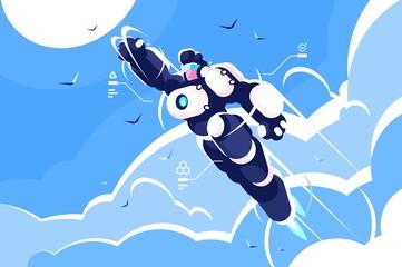 Man astronaut super hero spacesuit flying in sky.