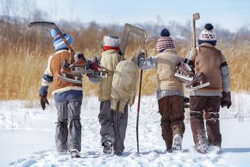 Group of boys go to play hockey