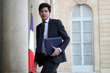 French Housing minister Julien Denormandie arrives at the Elysee Palace for the weekly cabinet meeting in Paris